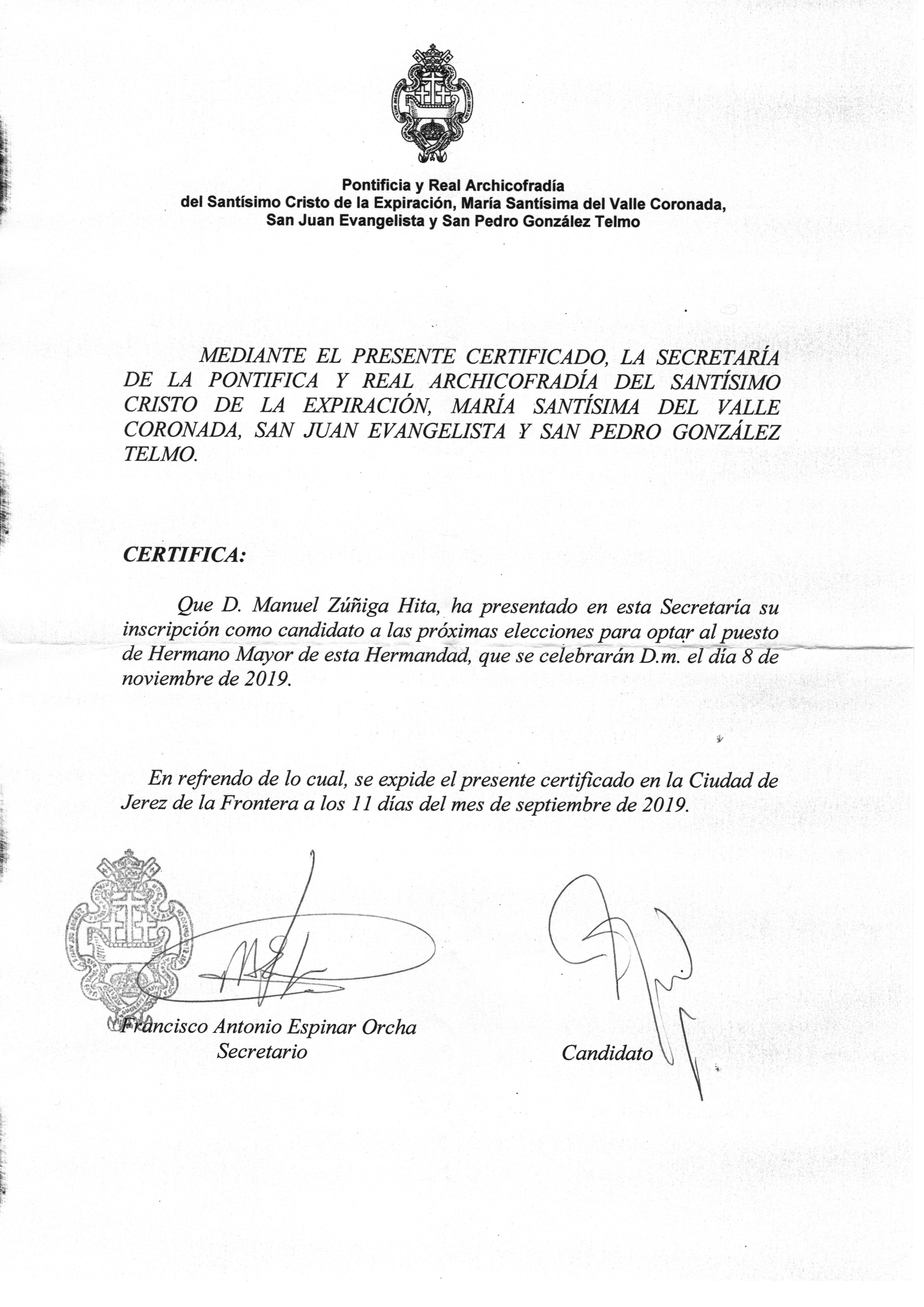 Certificado Elecciones Cristo